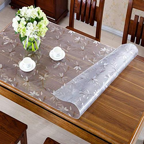 OstepDecor Custom 1.5mm Thick Floral Protector Dining Tables Cover Plastic Tablecloth Kitchen Room Cover   36 x 60 Inches