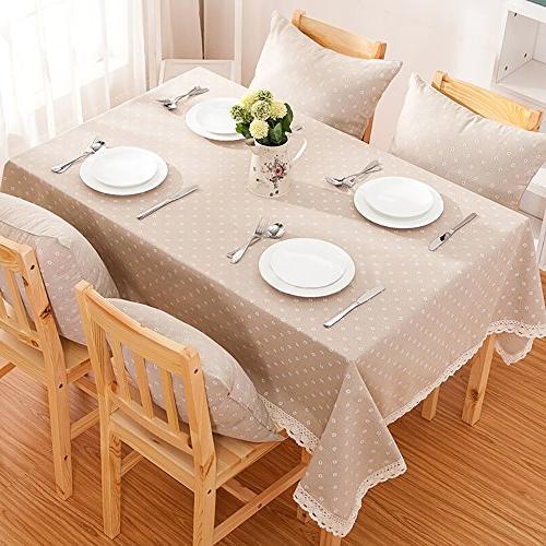 ColorBird Flower Linen Macrame Lace Dustproof Table Cover Kitchen Pub Decoration