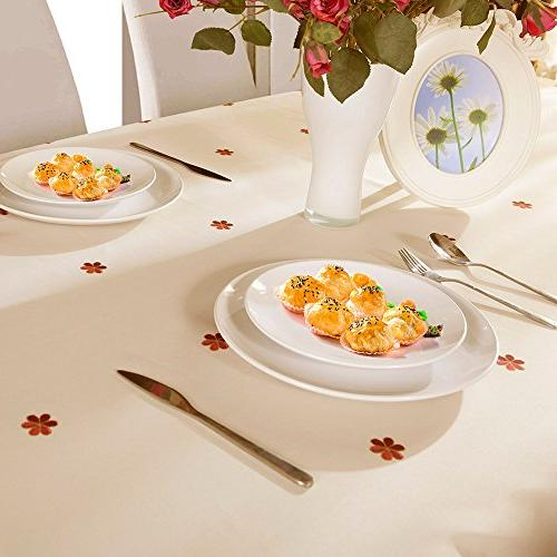 Decorative Floral Wrinkle and Resistant Tablecloths Dining Inch by