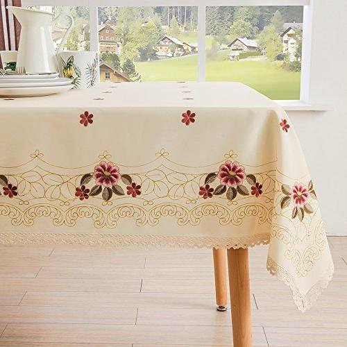 Decorative Lace Tablecloth Wrinkle Free and Stain Resistant Fabric for Dining Room by