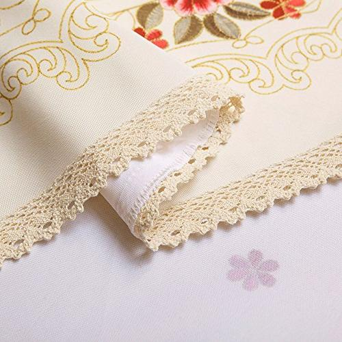 Decorative Lace Water Resistant Tablecloth Wrinkle Resistant Tablecloths for Dining 60 by