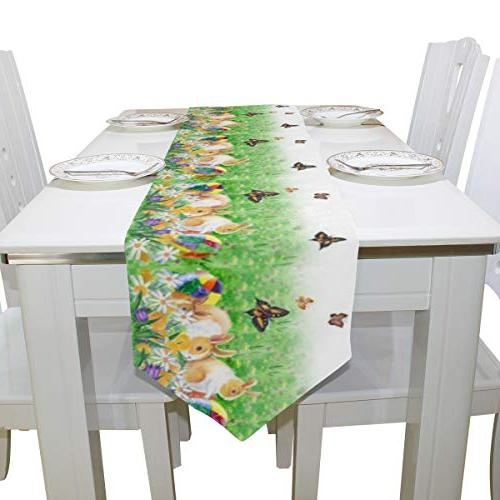 Naanle Double Sided Rabbit Bunny Spring Flower Long Polyester Table Inches, Easter Table Cloth Cover Placemats for Dinning Party Decor