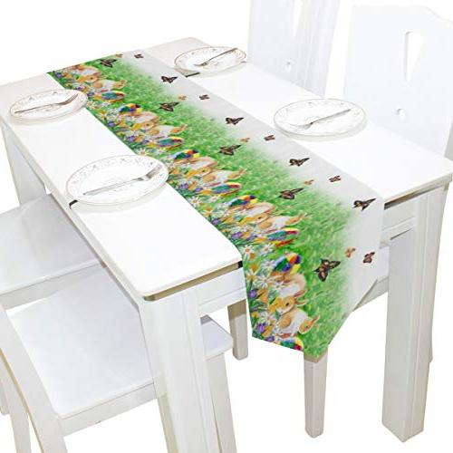 Naanle Double Sided Rabbit Flower Long Polyester Runner 13 90 Inches, Easter Cover for Kitchen Dinning Wedding Party