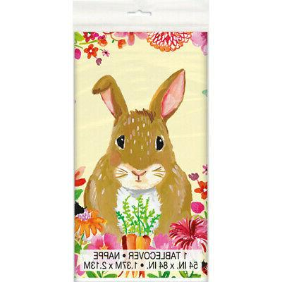easter floral bunny plastic table cover birthday