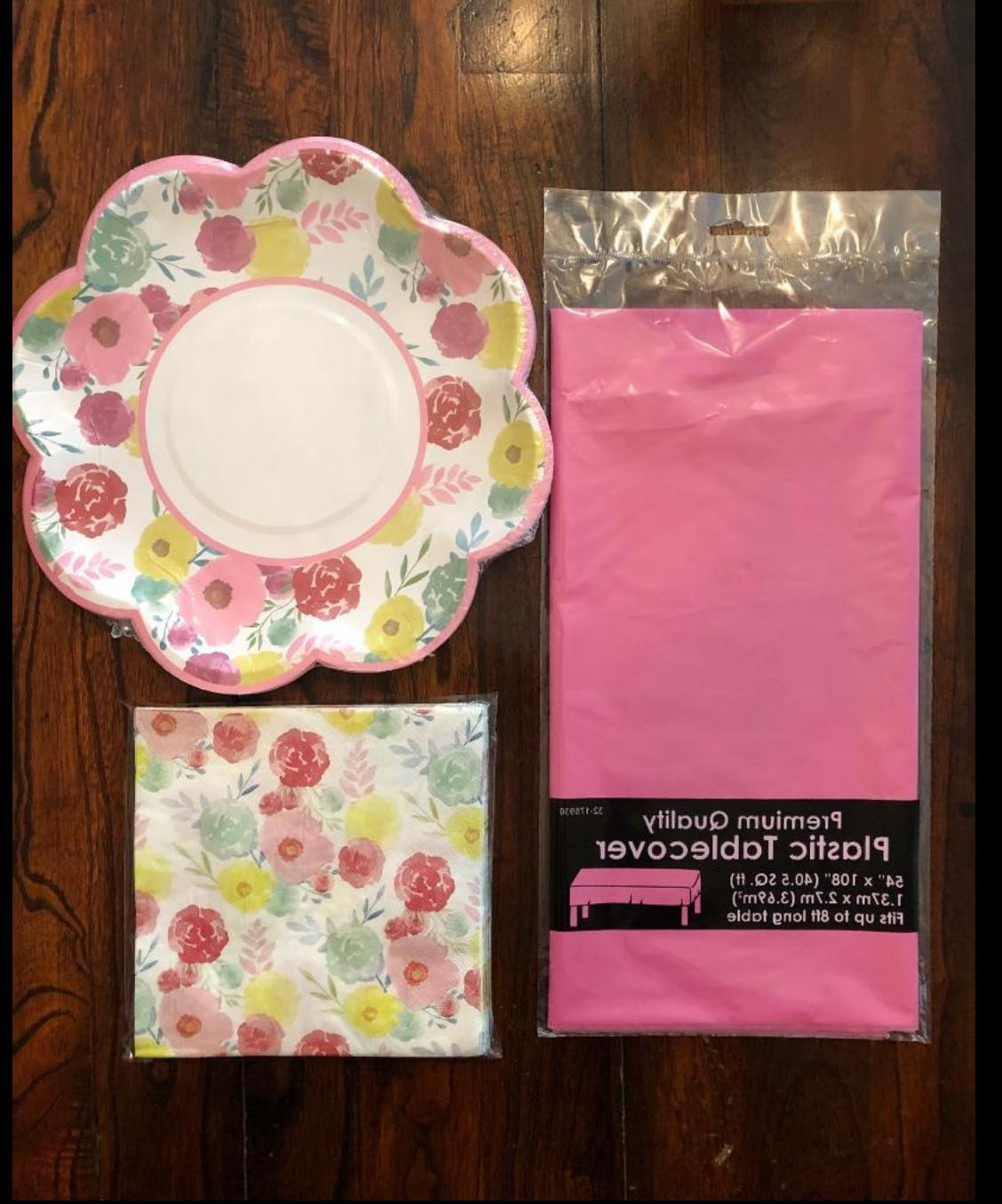 easter spring flowers teaparty table cover plates