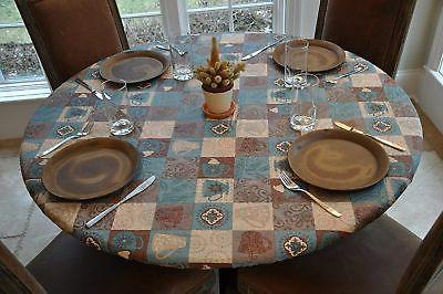 Elastic Flannel Vinyl Table Cover - GLOBAL COFFEE Pattern - Round - Fits 44""
