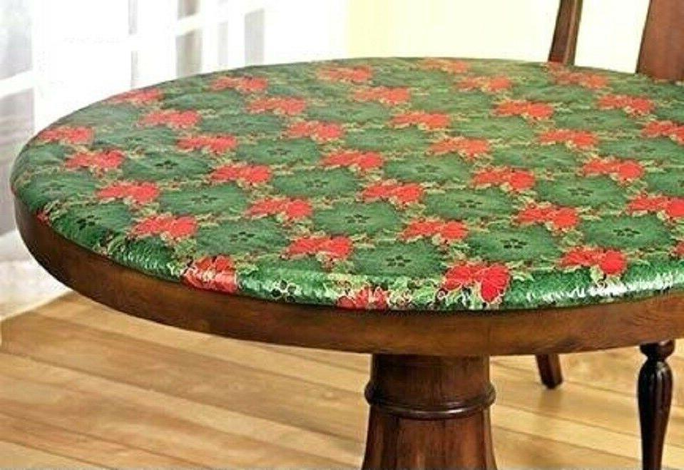 Elasticized Table Cover Kitchen Holly Christmas Colors Fits
