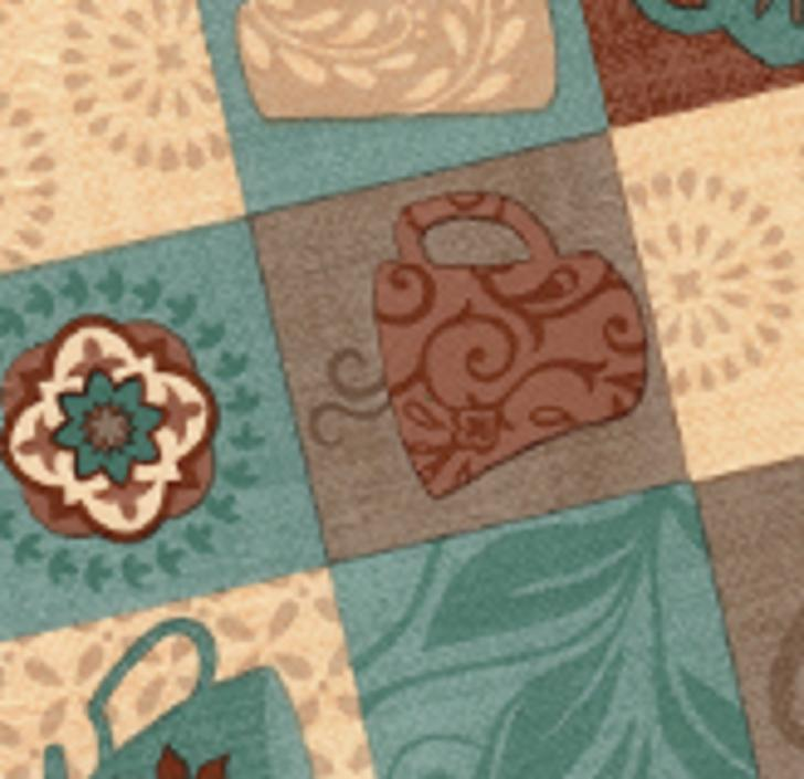 Elasticized Tablecloths Fitted Coffee Olive Geometric