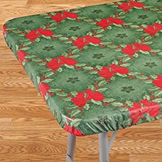Elasticized Tablecloths Table Fitted Cover Vinyl Fabric