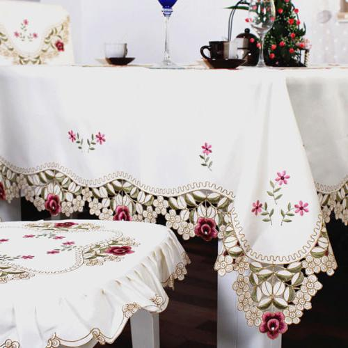 Embroider Floral Fabric Tablecloth Dining