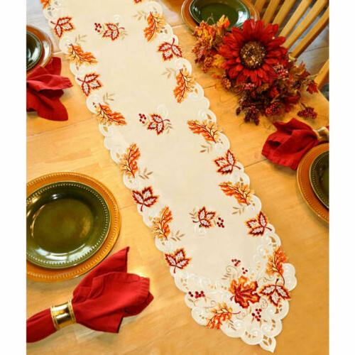 Embroidered Runner Handmade Leaves Table Cover Party