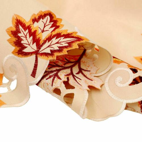 Embroidered Fall Table Runner Handmade Leaves Cover Decor