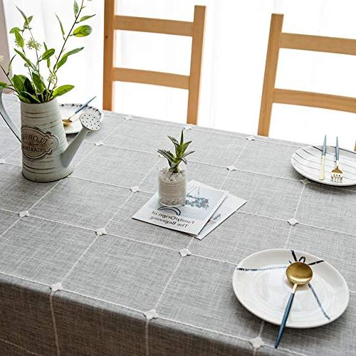 VIMOO Lattice Tablecloth Cotton Washable Wedding Restaurant Picnic