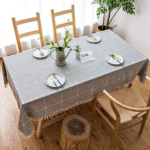 VIMOO Tablecloth Cotton Checked Washable Wedding Party Use