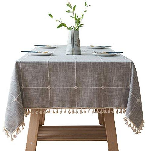 embroidery lattice tassel tablecloth cotton