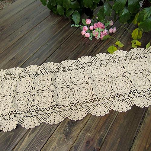 TideTex Handmade Runner Cover Hollow Out Rustic Table Cover Mats