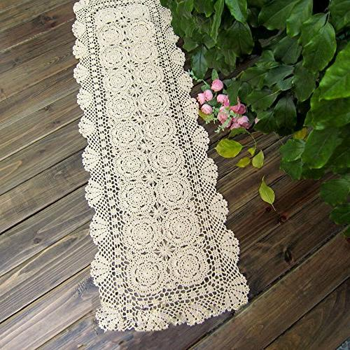 TideTex Handmade Crochet Lace Runner Table Hollow Cover Dresser Decoration Washable Mats
