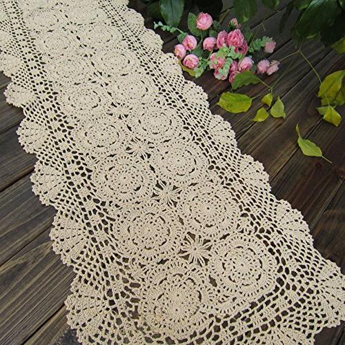 TideTex Rural Handmade Crochet Lace Runner Hollow Cover Dresser Mats