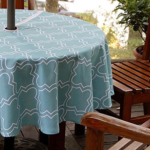 european turquoise quatrefoil print umbrella