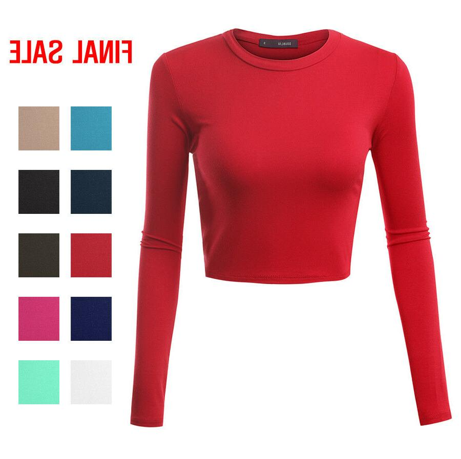 Doublju Basic Long Sleeve Crop Top For Women With Plus Size