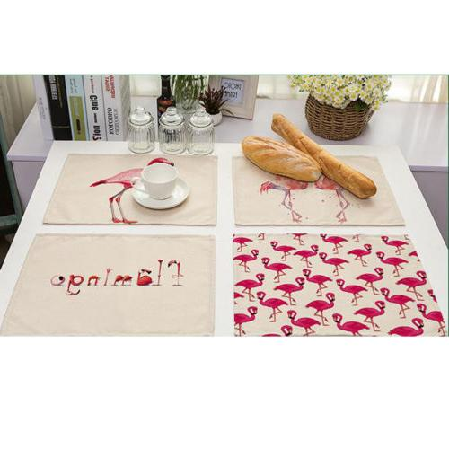 Flamingo Table Placemats Coaster Cover Mat Cutlery Holder He