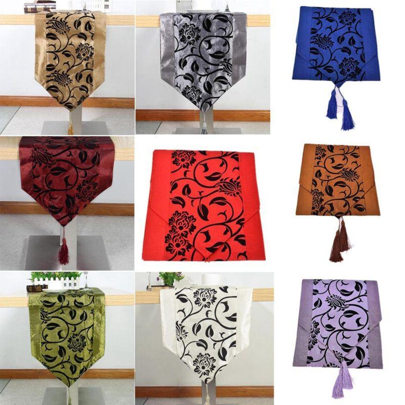 flocked damask table runners cloth cover wedding