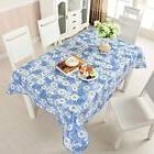 Floral Waterproof Vinyl Tablecloth Table Cover Square Flower