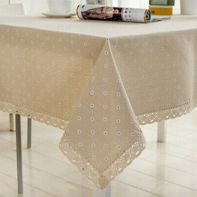 Flower Tablecloth Linen Cotton Table Cloth Lace