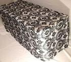 5' ft. Fitted Black White Damask Flocked Taffeta Tablecloth