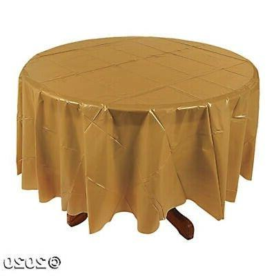 gold 82 round plastic table cover tablecloth
