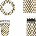 Gold And White Scallop Printed Party Tableware Tablecover Pl