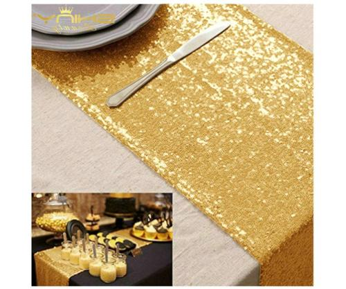 Gold Table Runners Pack of 10 Shiny Gold Table Cover 12x72-I