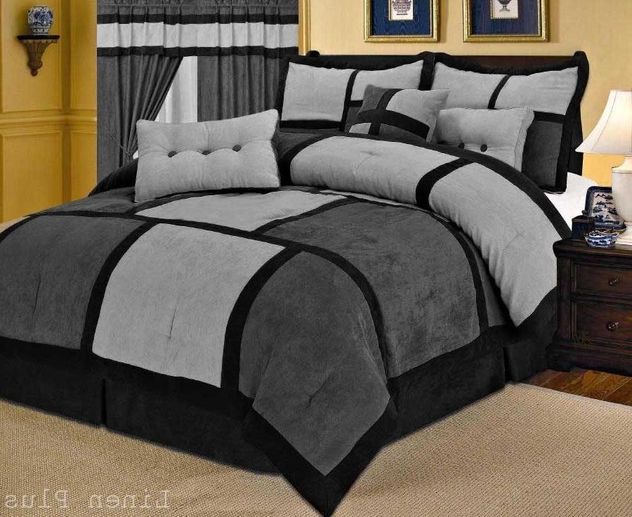 gray black micro suede comforter