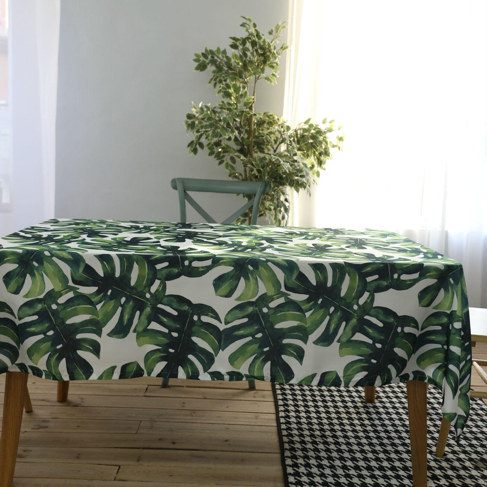 Green Leaves Print Cotton Blend Waterproof Dining Table Clot