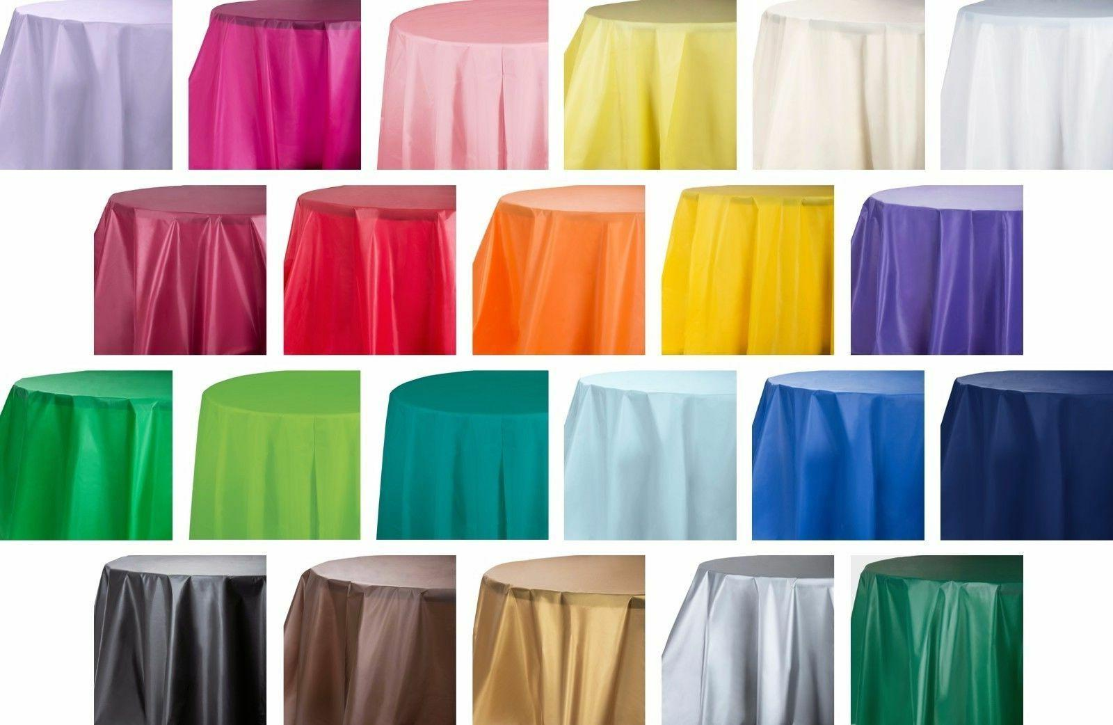 """84"""" Green Round Heavy Duty Plastic Table Covers Disposable P"""