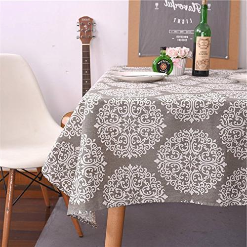 grey medallion tablecloth cotton linen