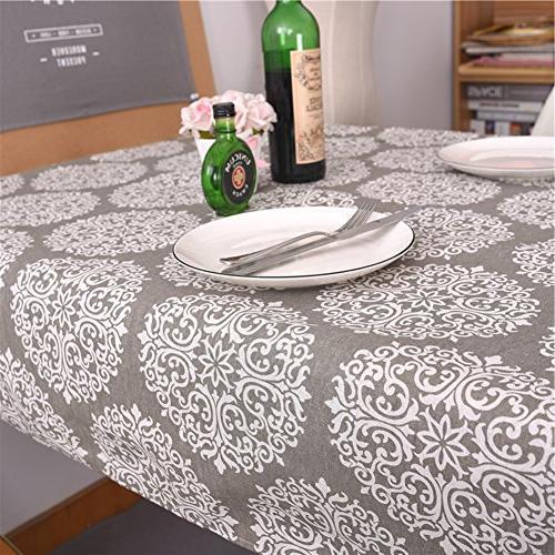 ColorBird Grey Tablecloth Cotton Linen Cover for Kitchen Tabletop Linen Decor
