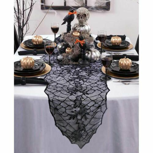 Halloween Party Dinner Tablecloth Table Cover Black Web Fire