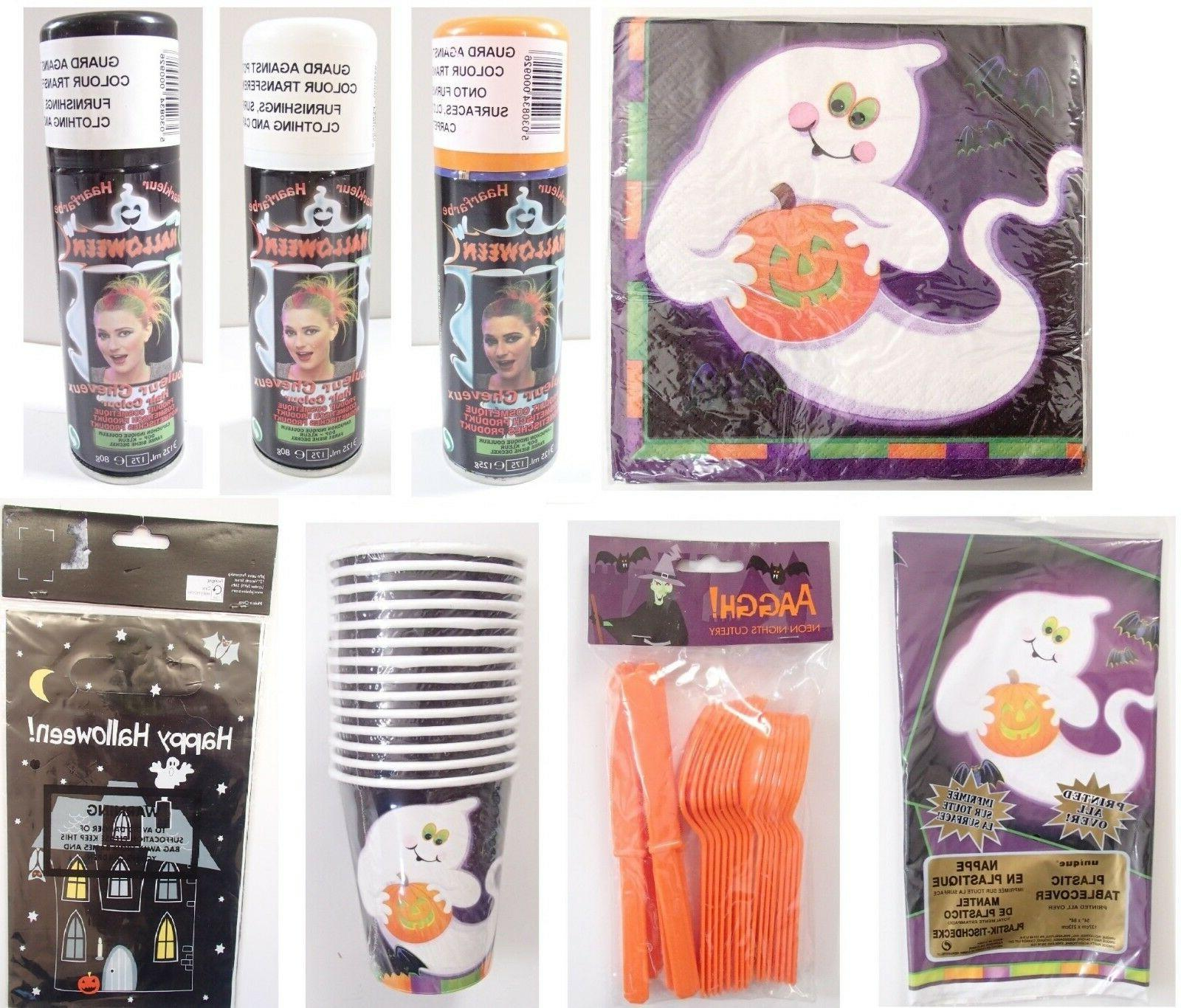 Halloween Party Napkins Cups Table Cover Cloth Hair Colour C