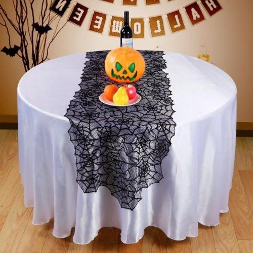 Halloween Spider Web Black Table Runner Lace Cover Party Decor KY