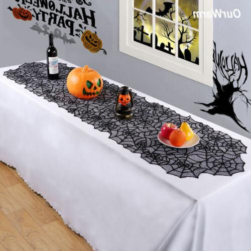 halloween spider web black table runner lace