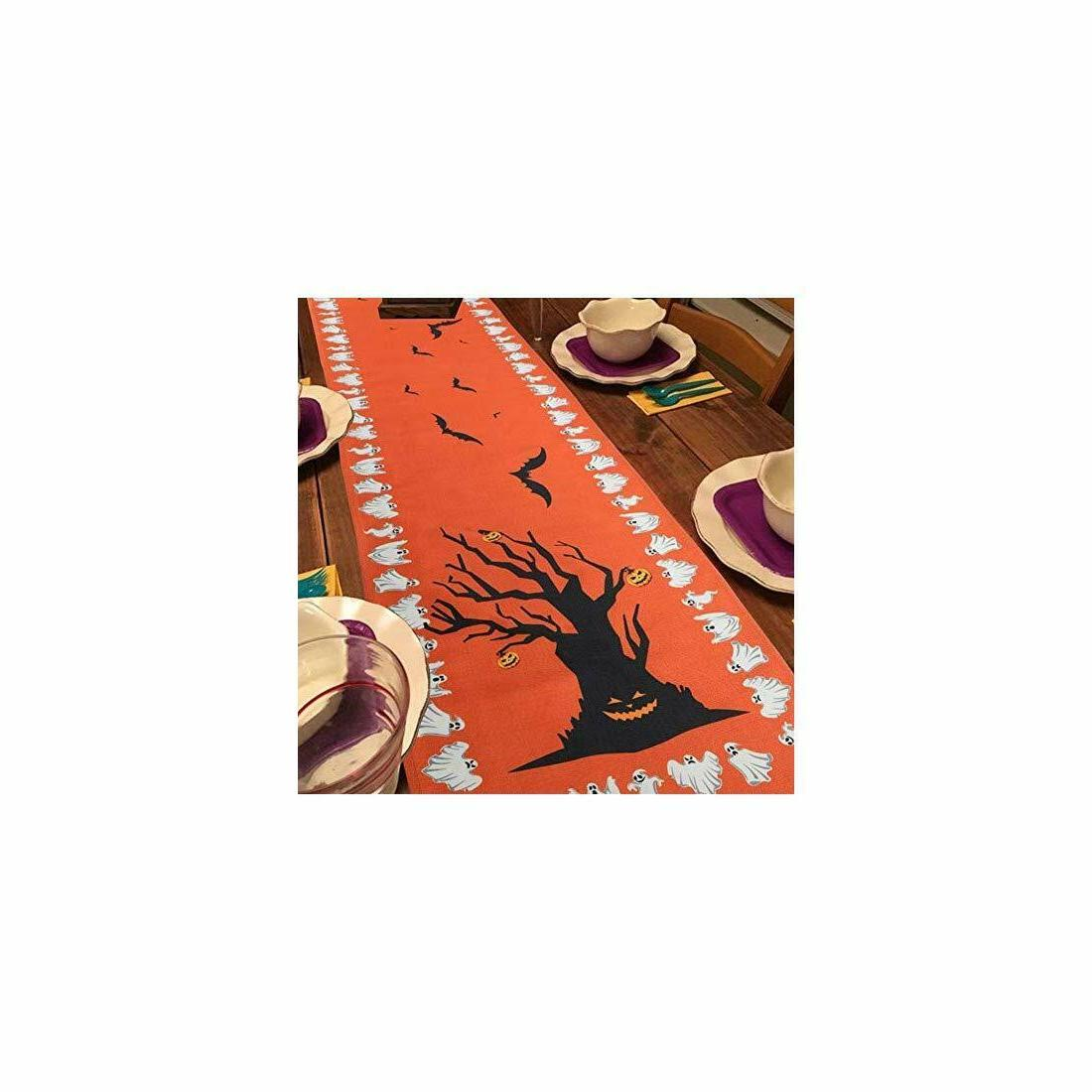 OurWarm Table Linen Bats Table Cover, Pumpkin