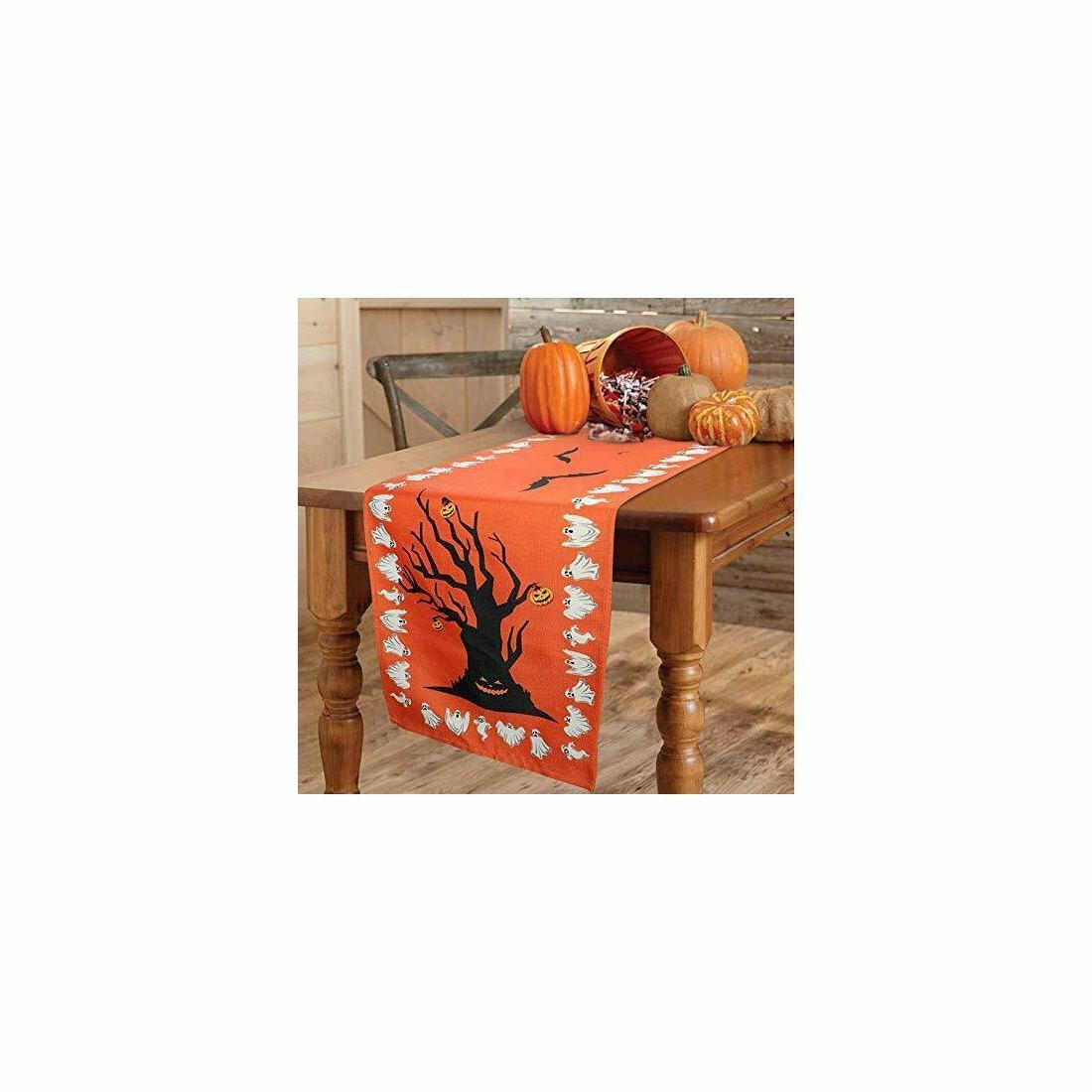 halloween table runner linen bats table cover