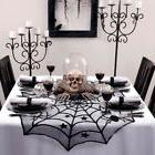 halloween tablecloth lace black spider web bat
