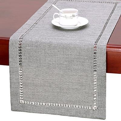 GRELUCGO Handmade Hemstitch Gray Dining Table Runner Or Dres