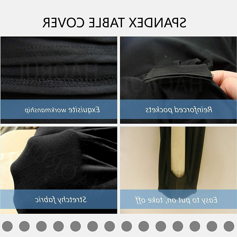 HAORUI Spandex Table Cover Black