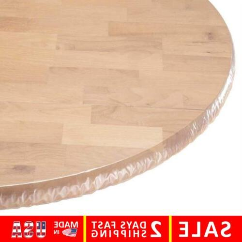 Yourtablecloth Heavy Duty Clear Vinyl Round Fitted Tableclot