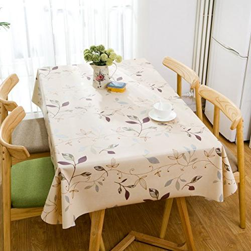 LEEVAN Heavy Square Table Cover Wipe Clean Stain-Resistant/Mildew-Proof - 54 Inch