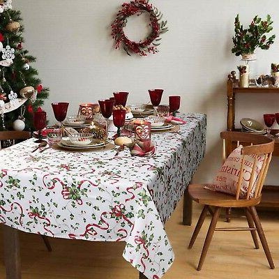 ColorBird Holiday Tablecloth, Ribbon Fabric Table Cover for Dining
