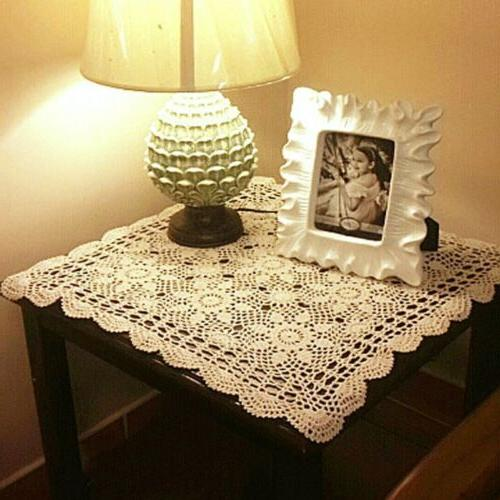 Newly Vintage Crochet Table Cover Cotton Square Topper Table